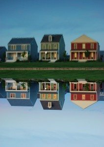 houses and their reflection